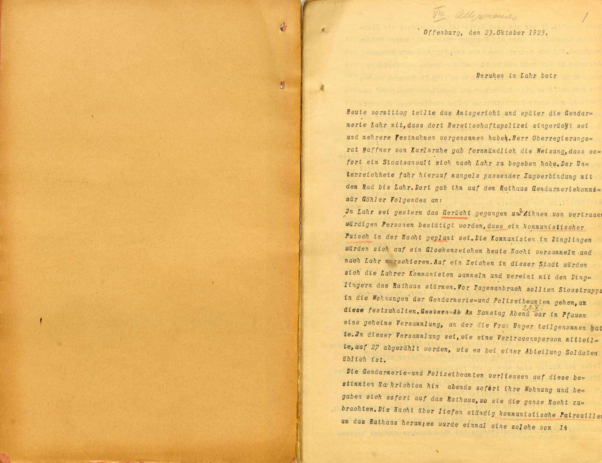 Strafsache gegen Wilhelm Gern, Lahr, und weitere 10 Angeklagte wegen Aufruhr, Teilnahme an bewaffneten Haufen, unerlaubter Waffenbesitz, Widerstand (Lahrer Unruhen, Oktober 1923), Bild 3