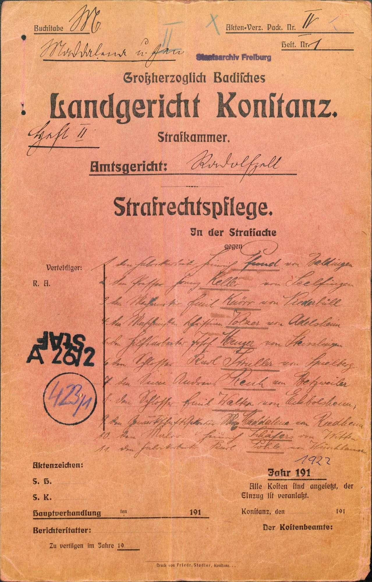 Heinrich Pfund, Fabrikarbeiter, Baldingen, et.al. (zehn weitere Angeklagte) wegen Landfriedensbruch (Unruhen in Singen im Anschluss an eine Demonstration wegen des Rathenau-Mordes), Bild 1