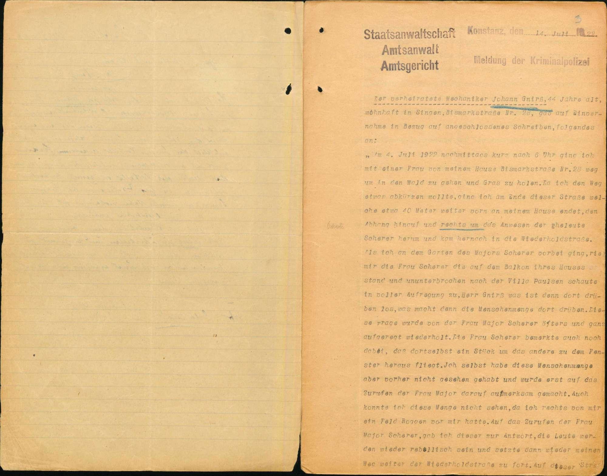 Heinrich Pfund, Fabrikarbeiter, Baldingen, et.al. (zehn weitere Angeklagte) wegen Landfriedensbruch (Unruhen in Singen im Anschluss an eine Demonstration wegen des Rathenau-Mordes), Bild 3