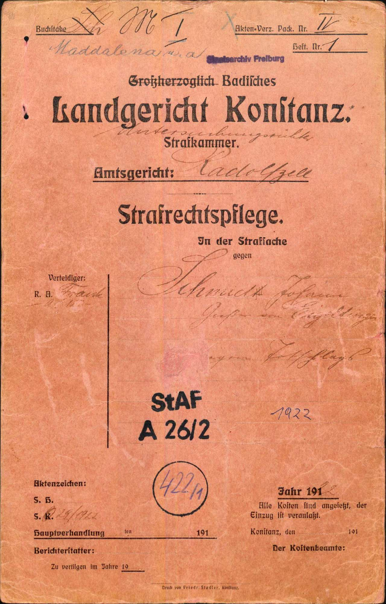Johann Schmid, Gießer, Eigeltingen wegen Totschlags (an Major Scherer, Singen, im Anschluss an eine Demonstration wegen des Rathenau-Mordes), Bild 1