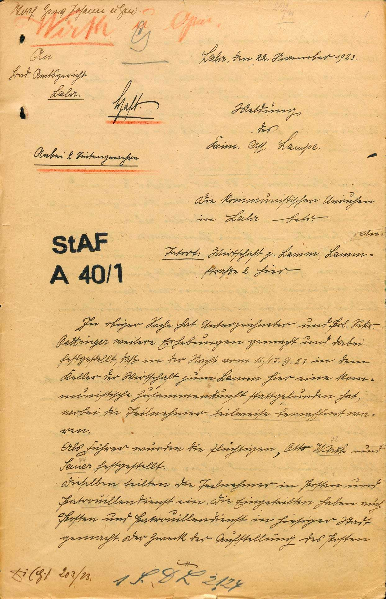 Untersuchung gegen Johann Georg Wirth und andere Personen, Lahr wegen Landfriedensbruch (Beteiligung an den kommunistischen Unruhen in Lahr, Nov. 1923), Bild 1
