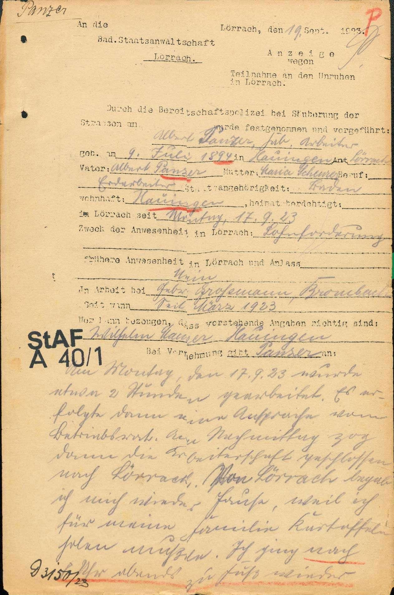 """Ermittlungen gegen Teilnehmer und """"Hetzer"""" an den Lörracher Unruhen 1923, Bild 1"""
