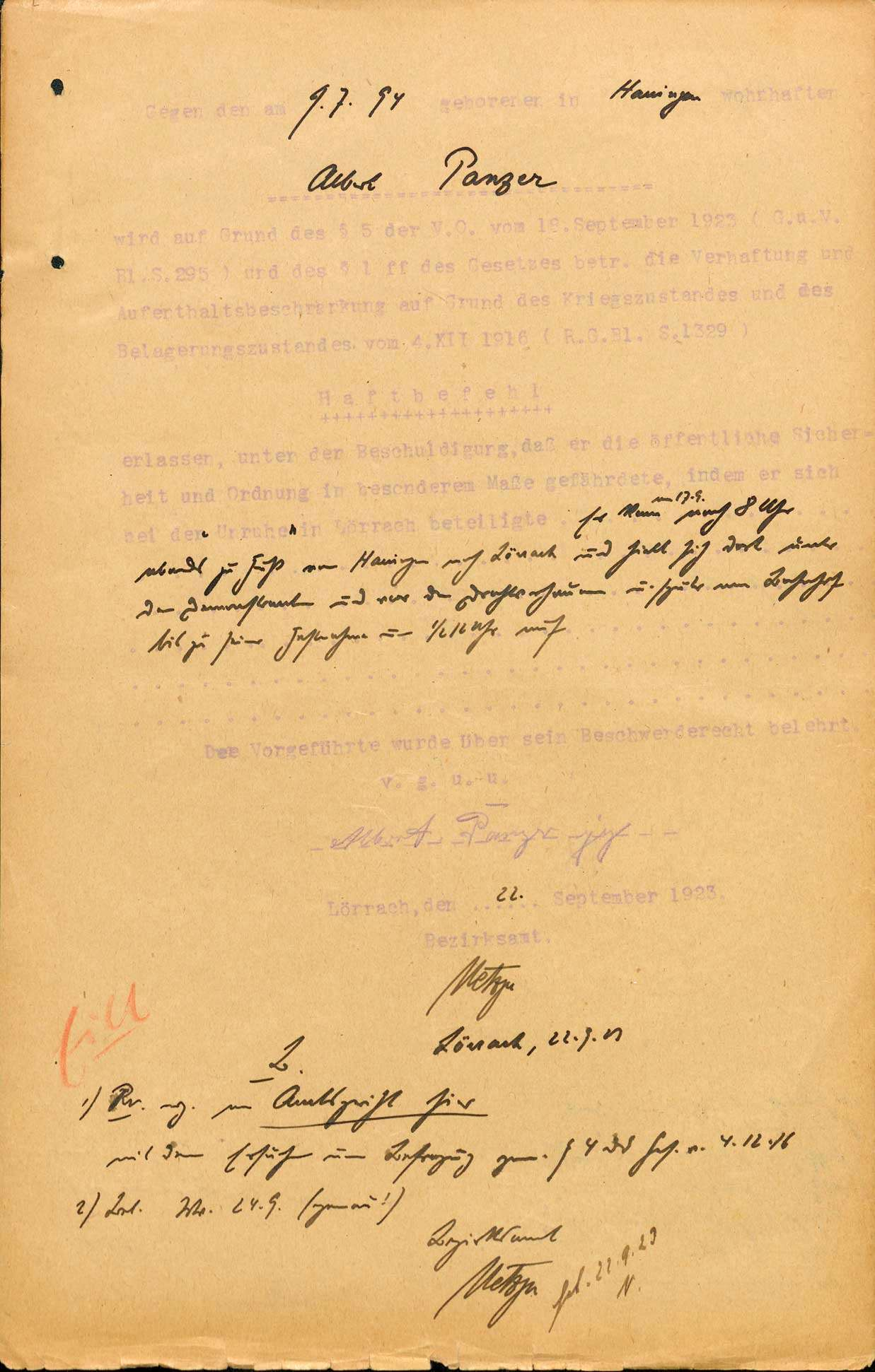"""Ermittlungen gegen Teilnehmer und """"Hetzer"""" an den Lörracher Unruhen 1923, Bild 3"""