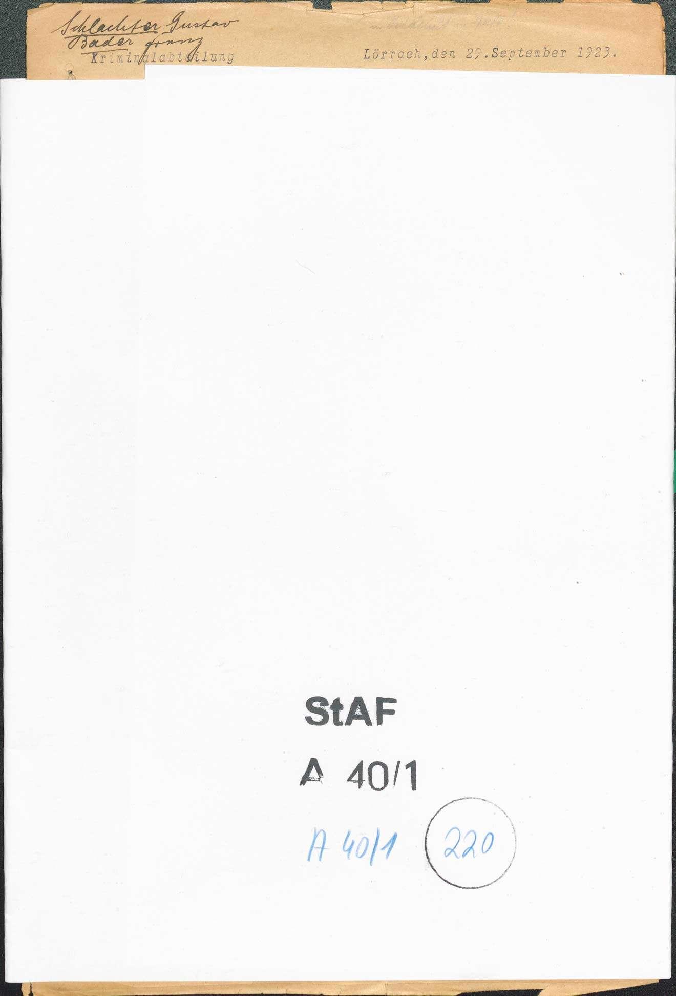 Ermittlungen gegen Gustav Schlachter, Wehr Franz Bader, Wehr wegen Landfriedensbruch (Teilnahme an den Unruhen in Lörrach, Sept. 1923, Ermittlungen eingestellt), Bild 1