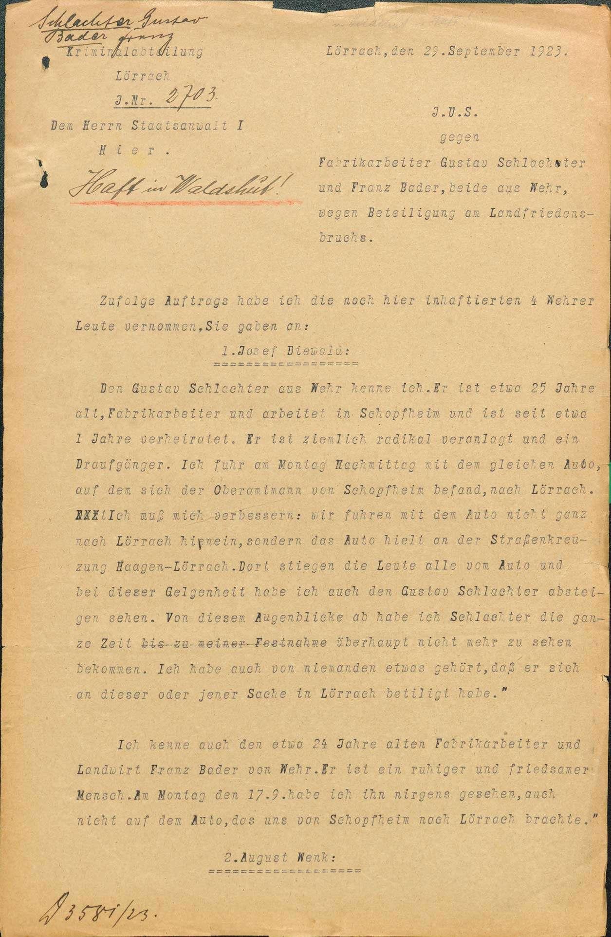Ermittlungen gegen Gustav Schlachter, Wehr Franz Bader, Wehr wegen Landfriedensbruch (Teilnahme an den Unruhen in Lörrach, Sept. 1923, Ermittlungen eingestellt), Bild 2