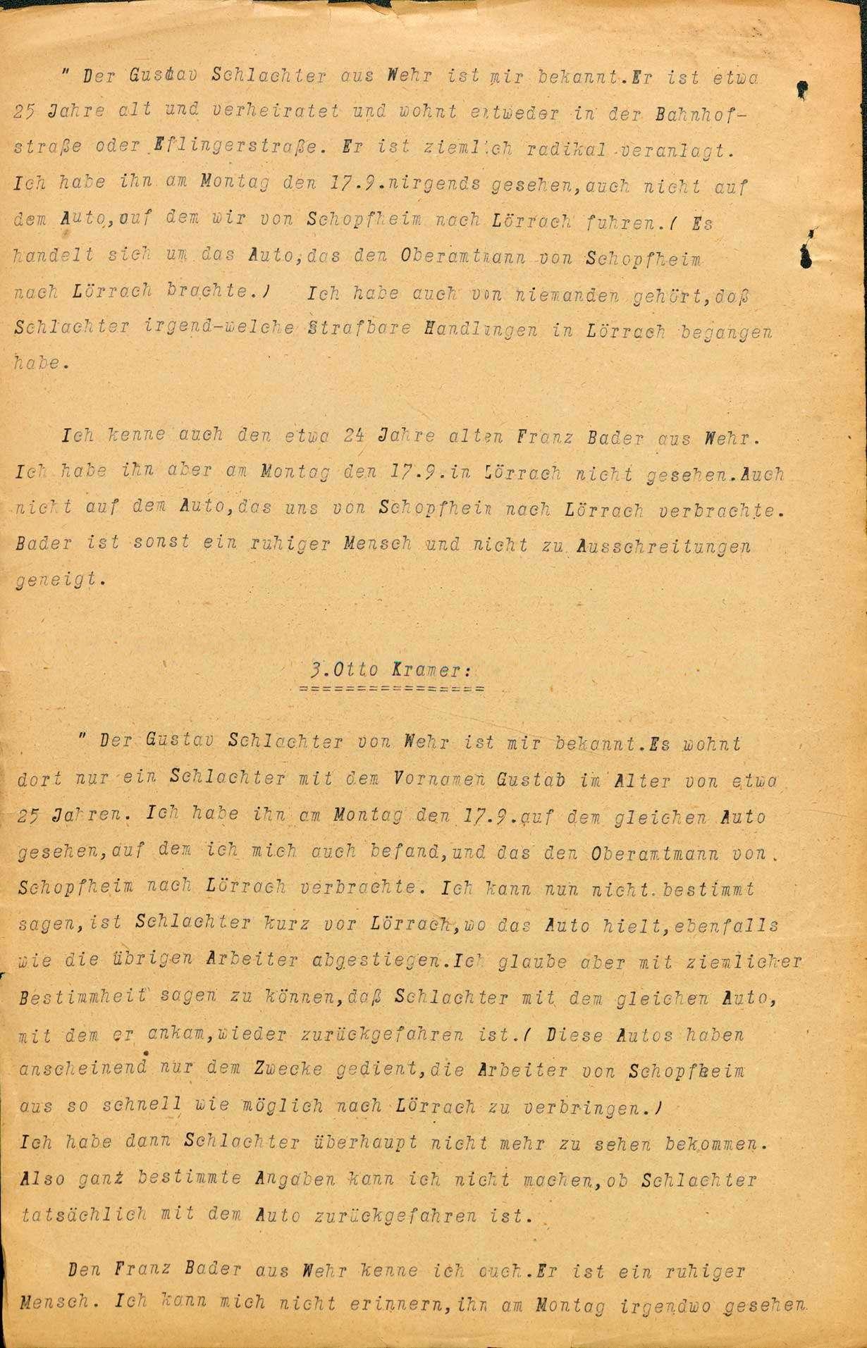Ermittlungen gegen Gustav Schlachter, Wehr Franz Bader, Wehr wegen Landfriedensbruch (Teilnahme an den Unruhen in Lörrach, Sept. 1923, Ermittlungen eingestellt), Bild 3