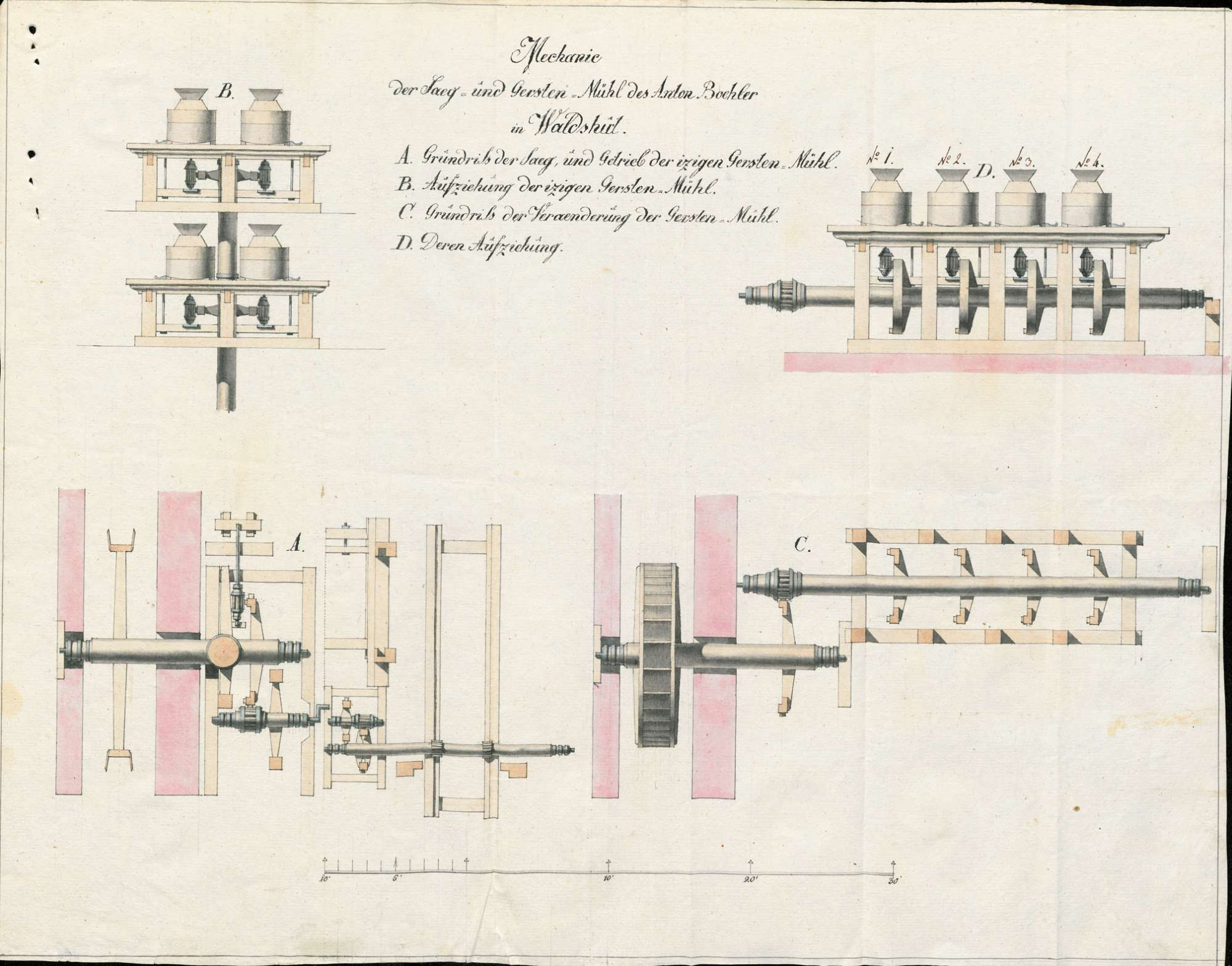 Rechtsstreit zwischen den Müllern in Waldshut und dem Werkmeister Anton Böhler von da wegen Errichtung einer Gerstenrolle oder Mühle, Bild 1