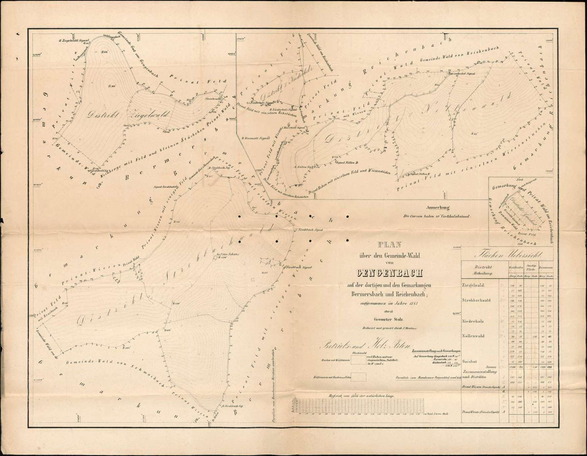 Aufteilung der Gengenbacher Allmende zwischen der Stadt Gengenbach und den Vogteien Reichenbach, Schwaibach und Bermersbach, Bild 1