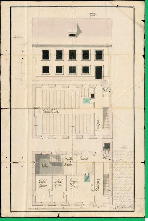 Die Erbauung des Schulhauses in Herdern, der Beitrag des Ärars dazu und dessen Verpflichtung zur Bezahlung der Arbeitslöhne bei Bauherstellungen, Bild 1