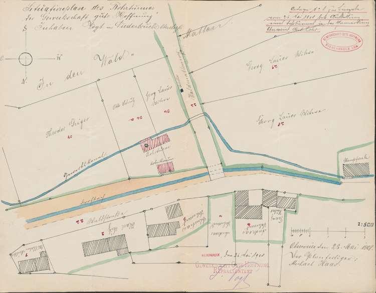 Bauprojekt der Gewerkschaft Gute Hoffnung, Niederbruck/Elsass für einen Bohrturm in der Gemarkung Oberweier; Lageplan 1:10000, Bild 1