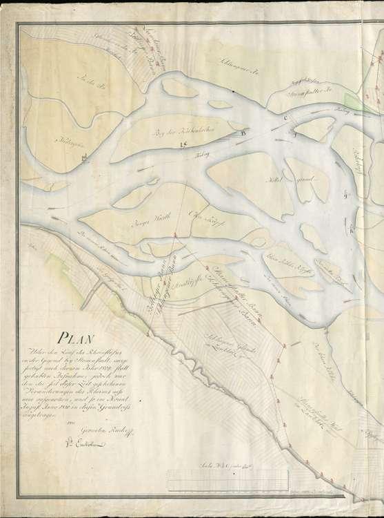Rheinlauf in der Gegend von Steinenstadt; gef. v. d. Geometern Rieder und Enckerlin, l
