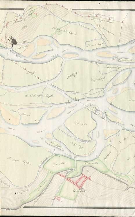 Rheinlauf in der Gegend von Steinenstadt; gef. v. d. Geometern Rieder und Enckerlin, m