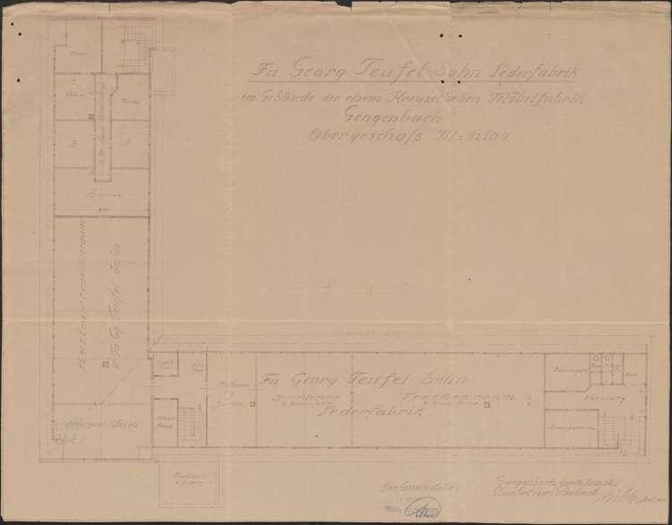 Lederfabrik Georg Teufel Sohn, Gengenbach; Obergeschoss, 1:100, Bild 1