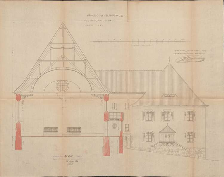 Neubau einer katholischen Kirche und eines Pfarrhauses in Kuhbach, Bild 1