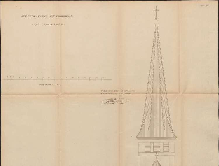 Neubau einer katholischen Kirche und eines Pfarrhauses in Kuhbach, o