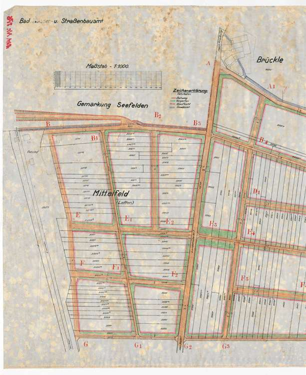 Bebauungsplan Buggingen; gef. vom Wasser- und Straßenbauamt Lörrach, 1:1000, l