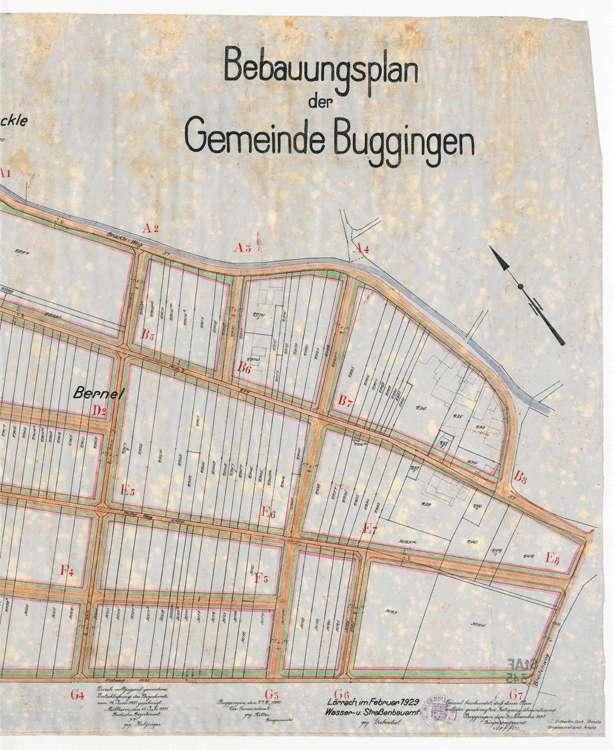 Bebauungsplan Buggingen; gef. vom Wasser- und Straßenbauamt Lörrach, 1:1000, r