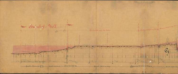 Bau der Schmalspurbahn Zell-Todtnau; Längenprofil Gemarkung Zell, l