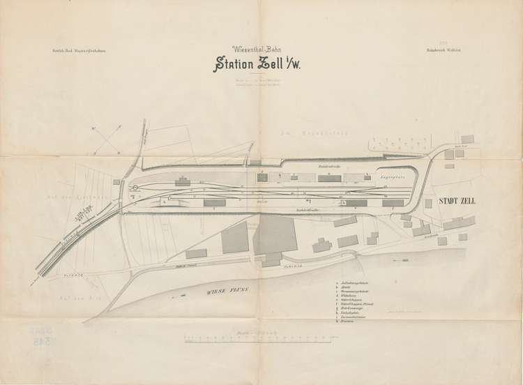 Bau der Schmalspurbahn Zell-Todtnau; Situationsplan Station Zell, Bild 1