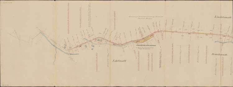 Bau der Privatbahn Kandern-Malsburg; Situationsplan, Verlauf der Bahn zur Station Steinbruch Meyer, Malsburg, 1.vl