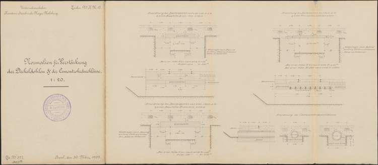 Bau der Privatbahn Kandern-Malsburg; Normalien zur Verstärkung der Deckendolen und der Zementdurchlässe, Bild 1