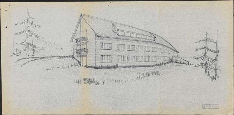 Um- und Erweiterungsbau des Hochkopfhauses des Schwarzwaldvereins Freiburg auf Gemarkung Präg; Ansicht, Bild 1