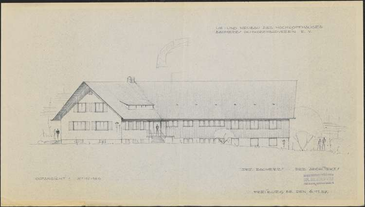 Um- und Erweiterungsbau des Hochkopfhauses des Schwarzwaldvereins Freiburg auf Gemarkung Präg; Ostansicht, Bild 1