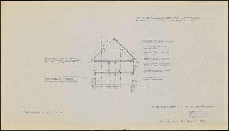 Um- und Erweiterungsbau des Hochkopfhauses des Schwarzwaldvereins Freiburg auf Gemarkung Präg; Querschnitt, Bild 1