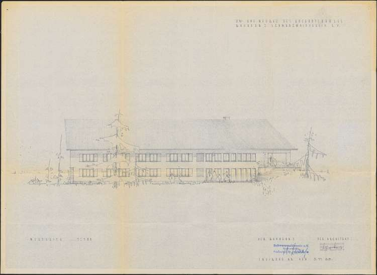 Um- und Erweiterungsbau des Hochkopfhauses des Schwarzwaldvereins Freiburg auf Gemarkung Präg; Westseite, Bild 1
