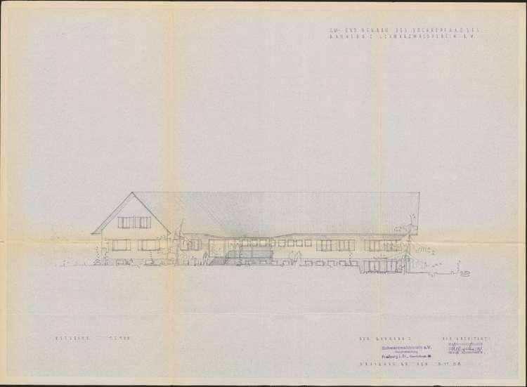 Um- und Erweiterungsbau des Hochkopfhauses des Schwarzwaldvereins Freiburg auf Gemarkung Präg; Ostseite, Bild 1