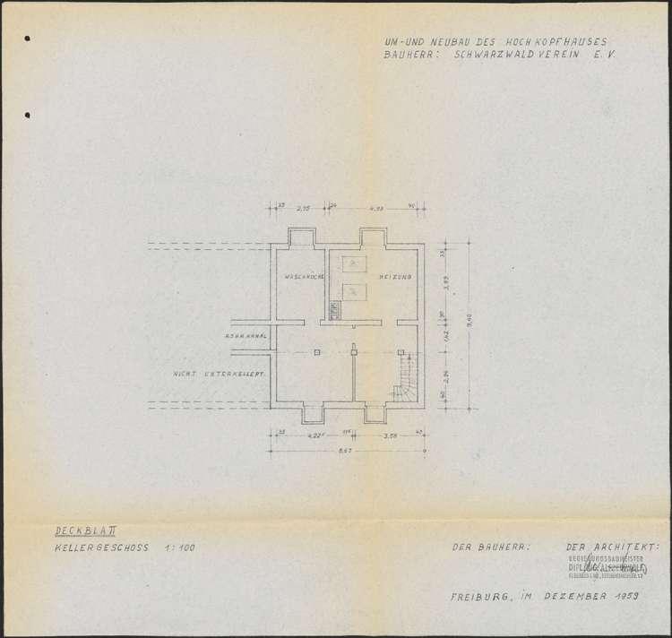 Um- und Erweiterungsbau des Hochkopfhauses des Schwarzwaldvereins Freiburg auf Gemarkung Präg; Grundriss Kellergeschoss, Bild 1