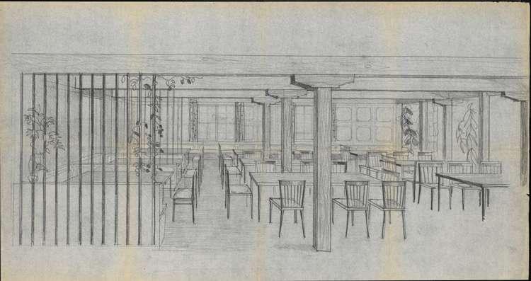Um- und Erweiterungsbau des Hochkopfhauses des Schwarzwaldvereins Freiburg auf Gemarkung Präg; Innenansicht des Speiseraums, Bild 1