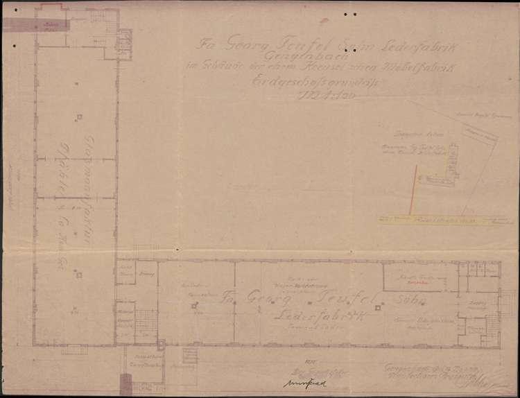 Lederfabrik Georg Teufel Sohn, Gengenbach; Erdgeschossgrundriss, 1:100, Bild 1