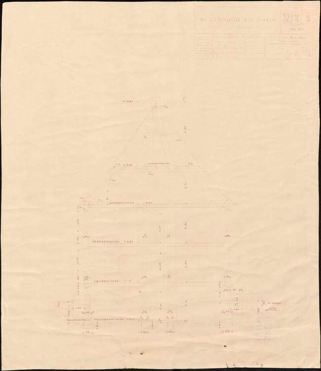 Wiederaufbau des Anwesens Leo Grozinger; Neuenburg am Rhein; Schnitt durch das Haus, Bild 2