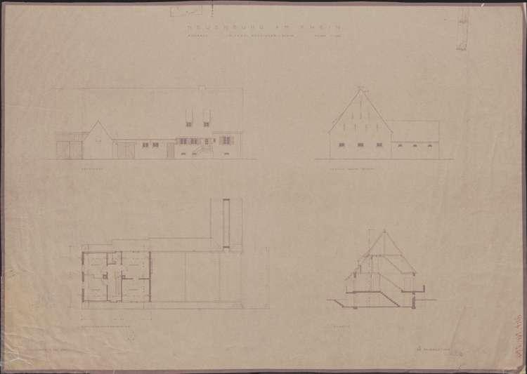 Wiederaufbau des Anwesens Alfred Grozinger-Stein; Neuenburg am Rhein; Grund- und Aufrisse, Ansichten, Bild 1