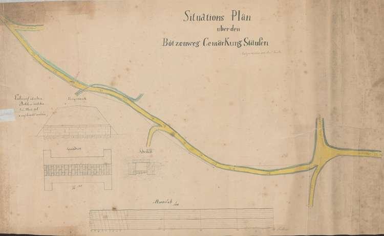 Situation und Nivellement zu einer neuen Straße Staufen - Grunern (Bötzenweg), Bild 1