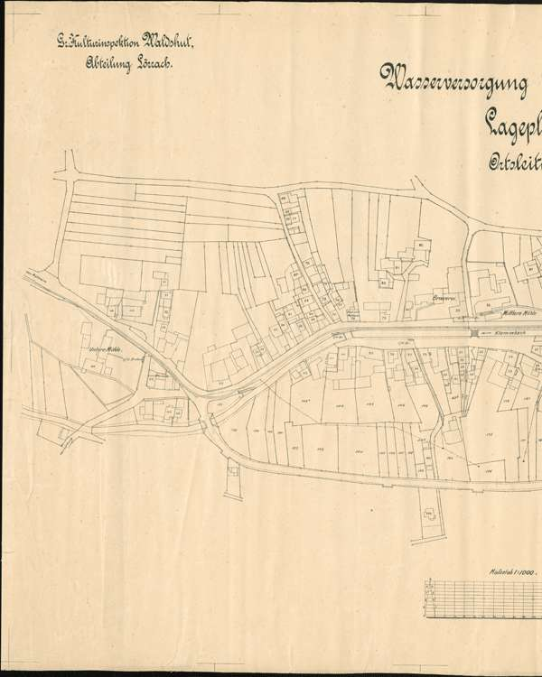 Wasserversorgung Niederweiler; gef. v. Kulturinsp. Waldshut, Abt. Lörrach; Lageplan 1, l