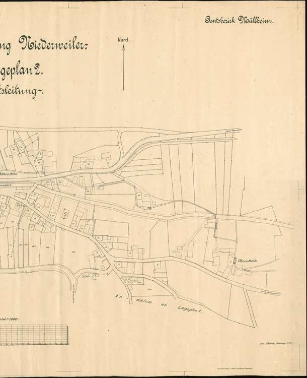Wasserversorgung Niederweiler; gef. v. Kulturinsp. Waldshut, Abt. Lörrach; Lageplan 1, r