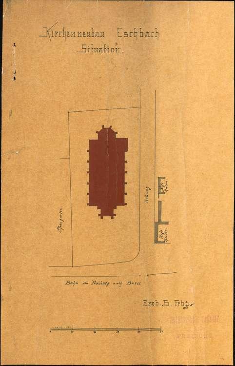 Kirchenbau Eschbach; gef. vom Erzbischöflichen Bauamt; Situationsplan, Bild 1