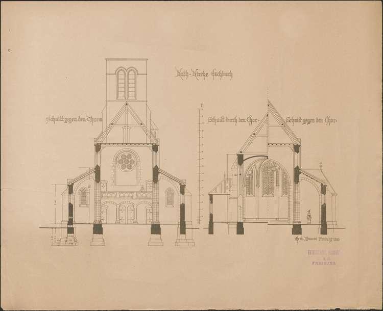 Kirchenbau Eschbach; gef. vom Erzbischöflichen Bauamt; Querschnitte, Bild 1