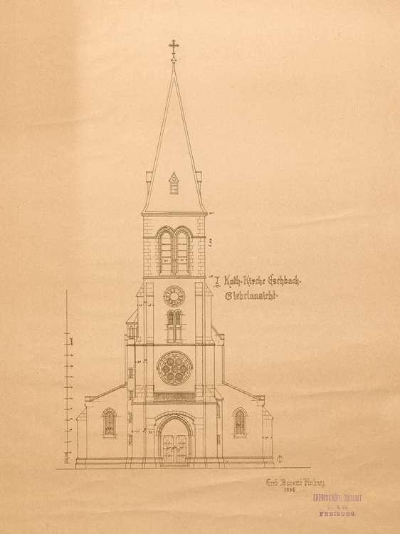 Kirchenbau Eschbach; gef. vom Erzbischöflichen Bauamt; Giebelansicht, Bild 1
