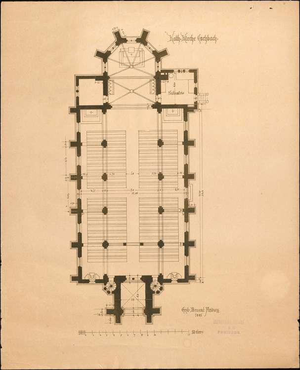 Kirchenbau Eschbach; gef. vom Erzbischöflichen Bauamt; Grundriss, Bild 1