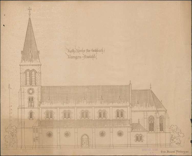 Kirchenbau Eschbach; gef. vom Erzbischöflichen Bauamt; Längenansicht, Bild 1