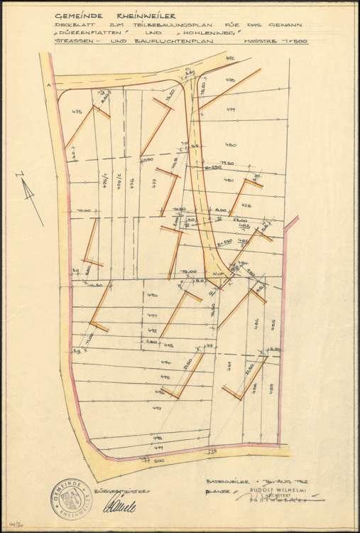Teilbebauungsplan Dürrenmatten und Hohlweg Rheinweiler sowie Gestaltungsplan Straßen- und Baufluchtenplan Rheinweiler, 1:500, Bild 1