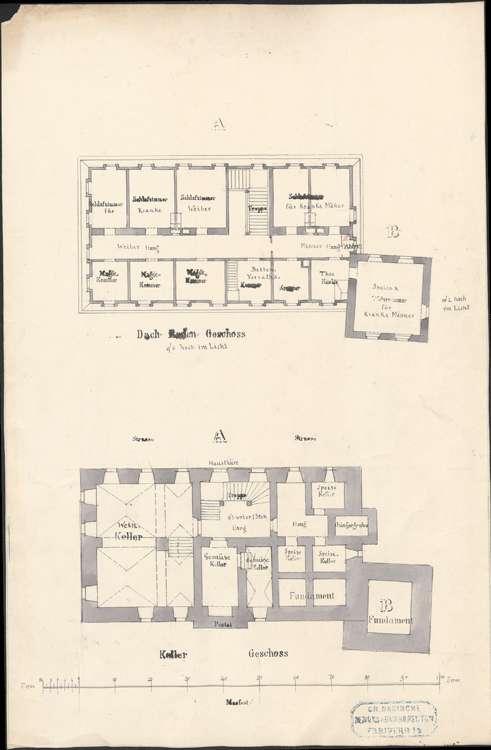 Neubau eines Pfründner- und Armenhauses und Plan zum Ankauf des ehemaligen Schlosses zu Heitersheim; Grundrisse Dach- und Kellergeschoss, Bild 1