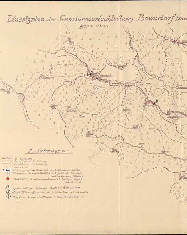 Einsatzplan der Gendarmerieabteilung Bonndorf, mit eingezeichneten Tankstellen und Straßensperren, 1:25000, l
