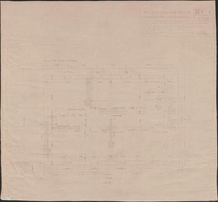 Wiederaufbau des Anwesens Leo Grozinger; Neuenburg am Rhein; Grundriss Kellergeschoss, Bild 1