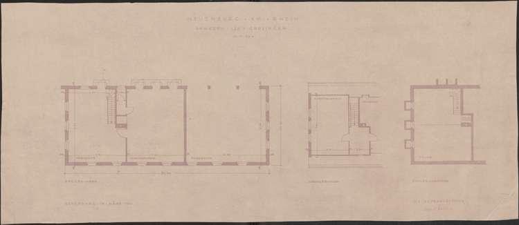 Wiederaufbau des Anwesens Leo Grozinger; Neuenburg am Rhein; Grundrisse Erd-, Dach- und Kellergeschoss, Bild 1