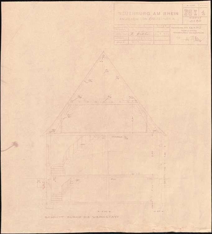 Wiederaufbau des Anwesens Leo Grozinger; Neuenburg am Rhein; Schnitt durch die Werkstatt, Bild 1