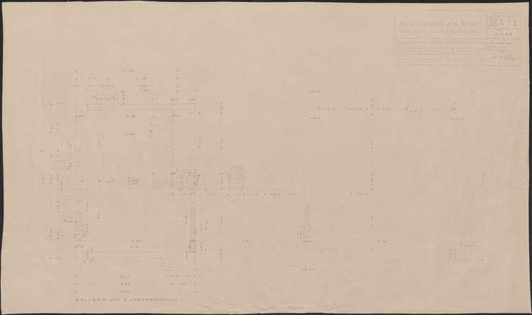Wiederaufbau des Anwesens Leo Grozinger; Neuenburg am Rhein; Keller- und Fundamentplan, Bild 1